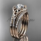 14kt rose gold diamond celtic trinity knot engagement ring with a double matching band CT7126S