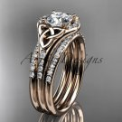 14kt rose gold diamond celtic trinity knot engagement ring with a Moissanite center stone CT7126S