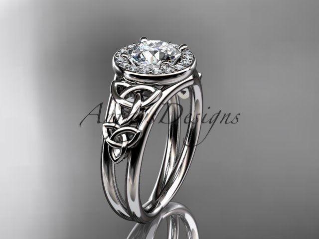 14kt white gold diamond celtic trinity knot engagement ring with a Moissanite center stone CT7131