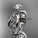14kt white gold diamond celtic trinity knot wedding ring, engagement ring CT7171