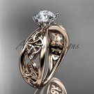 14kt rose gold diamond celtic trinity engagement ring with a Moissanite center stone CT7171
