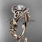 14kt rose gold diamond celtic trinity knot wedding ring, engagement ring CT7211