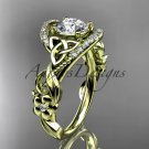 14kt yellow gold diamond celtic trinity knot   engagement ring with a Moissanite center stone CT7211