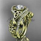 14kt yellow gold diamond celtic trinity knot wedding ring, engagement set CT7211S