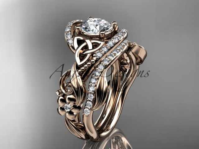 14kt rose gold diamond celtic trinity knot wedding ring, engagement set CT7211S