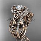 14kt rose gold diamond celtic trinity knot wedding ring, engagement set CT7211S