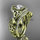 14kt yellow gold diamond celtic trinity knot engagement set with a Moissanite center stone CT7211S