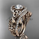 14kt rose gold diamond celtic trinity knot engagement set with a Moissanite center stone CT7211S