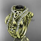 14ktyellow gold diamond celtic trinity knot engagement ring with a Black Diamond center stoneCT7211S