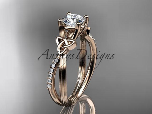 14kt rose gold diamond celtic trinity knot engagement ring with a Moissanite center stone CT7214