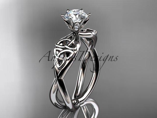 14kt white gold diamond celtic trinity knot wedding ring, engagement ring CT7221