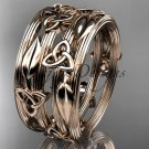 14kt rose gold celtic trinity knot wedding band, engagement ring CT7242B
