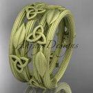 14kt yellow gold celtic trinity knot matte finish wedding band, engagement ring CT7242B