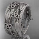Platinum celtic trinity knot matte finish wedding band, engagement ring CT7242B