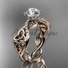 14kt rose gold diamond celtic trinity knot wedding ring, engagement ring CT7270