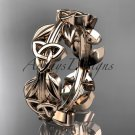 14kt rose gold celtic trinity knot wedding band, engagement ring CT7316B