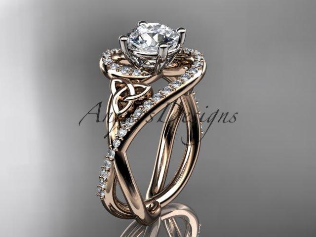 14kt rose gold diamond celtic trinity knot wedding ring, engagement ring CT7320