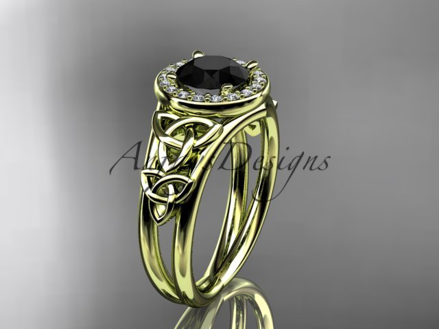 14kt yellow gold diamond celtic trinity knot engagement ring with a Black Diamond center stoneCT7131