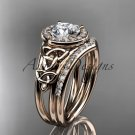 14kt rose gold diamond celtic trinity knot wedding ring, engagement set CT7131S