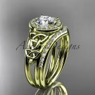 14kt yellow gold diamond celtic trinity knot wedding ring, engagement set CT7131S