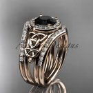 14kt rose gold diamond celtic trinity knot engagement ring with a Black Diamond center stoneCT7131S