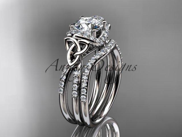 Platinum diamond celtic trinity knot wedding ring, engagement set CT7155S