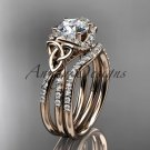 14kt rose gold diamond celtic trinity knot engagement set with a Moissanite center stone CT7155S