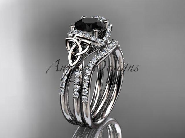 14kt white gold diamond celtic trinity knot engagement set with a Black Diamond center stone CT7155S