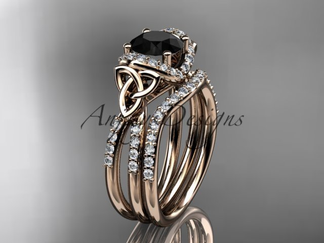 14kt rose gold diamond celtic trinity knot engagement set with a Black Diamond center stone CT7155S