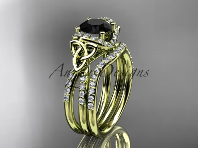 14kt yellow gold diamond celtic trinity knot engagement set with a Black Diamond center stoneCT7155S