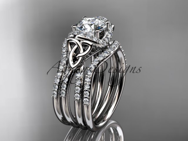 Platinum diamond celtic trinity knot engagement ring with a double matching band CT7155S