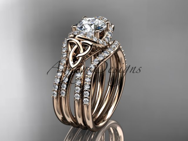 14kt rose gold diamond celtic trinity knot engagement ring with a Moissanite center stone CT7155S