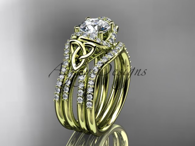14kt yellow gold diamond celtic trinity knot engagement ring with a Moissanite center stone CT7155S