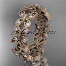 14kt rose gold diamond celtic trinity knot matte finish wedding band, engagement ring CT7198B