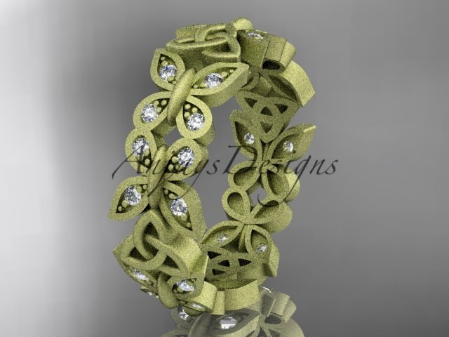 14kt yellow gold diamond celtic trinity knot matte finish wedding band, engagement ring CT7198B