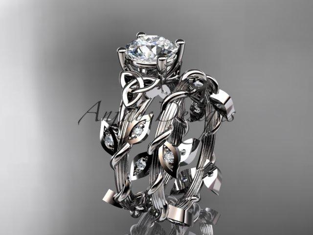 14kt white gold diamond celtic trinity knot wedding ring, engagement set CT7215S