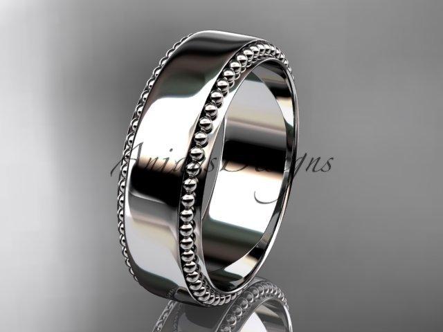 14kt white gold leaf and vine wedding band, engagement ring ADLR380G