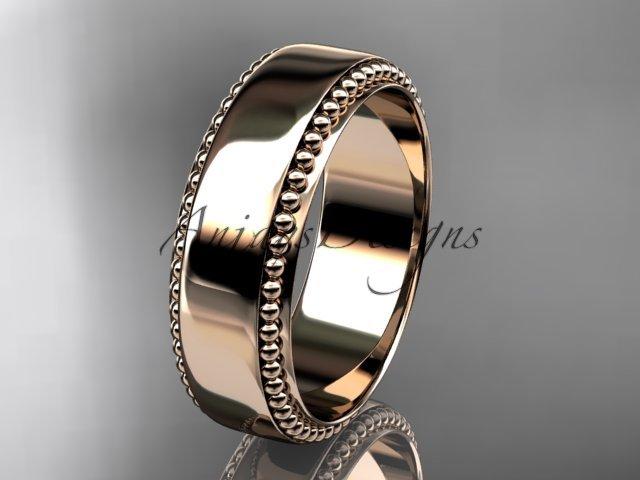 14kt rose gold leaf and vine wedding band, engagement ring ADLR380G