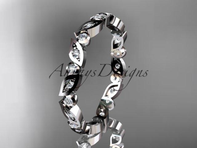 Platinum  diamond leaf and vine wedding band,engagement ring ADLR12B