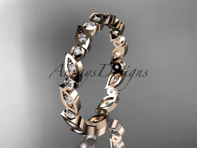 14k rose gold diamond leaf and vine wedding band,engagement ring ADLR12B
