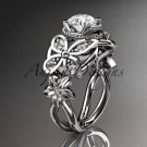 14kt white gold diamond floral, butterfly wedding ring, engagement ring, wedding band ADLR136