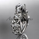14kt white gold engagement ring with a Forever One Moissanite center stone ADLR149