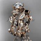14k rose gold diamond leaf and vine wedding ring, engagement ring, engagement set ADLR151