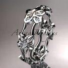 Platinum diamond engagement ring, wedding band ADLR153. nature inspired jewelry
