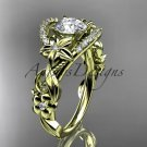 14k yellow gold engagement ring with a Forever One Moissanite center stone ADLR211