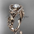 14k rose gold engagement ring with a Forever One Moissanite center stone ADLR211
