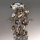 14k rose gold diamond engagement set with a Forever One Moissanite  center stone ADLR212