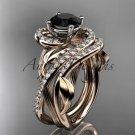 14kt rose gold diamond engagement set with a Black Diamond center stone ADLR222