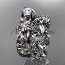 14k white gold diamond engagement set with a Forever One Moissanite center stone ADLR216