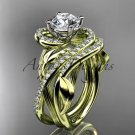 """14kt yellow gold diamond engagement set with a """"Forever Brilliant"""" Moissanite center stone ADLR222"""